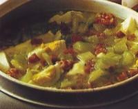 Minestra con uova e pancetta